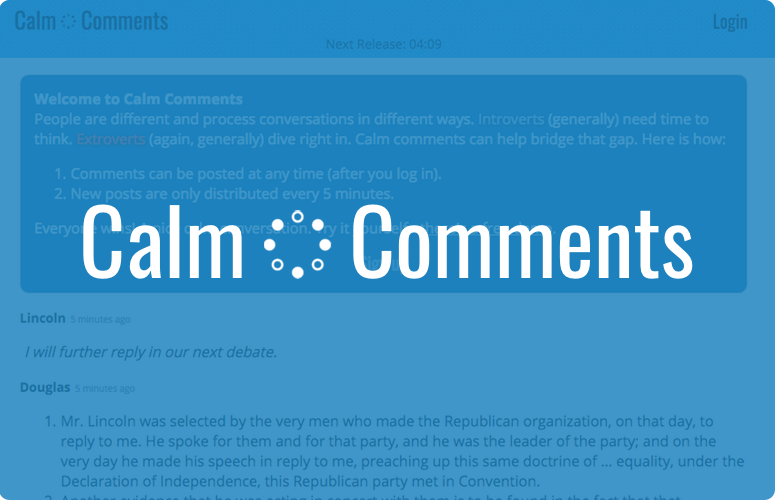 Calm Comments screenshot with a semi-opaque blue overlay with the words 'Calm Comments' in large white letters with the logo, a circle of dots, in between the words.
