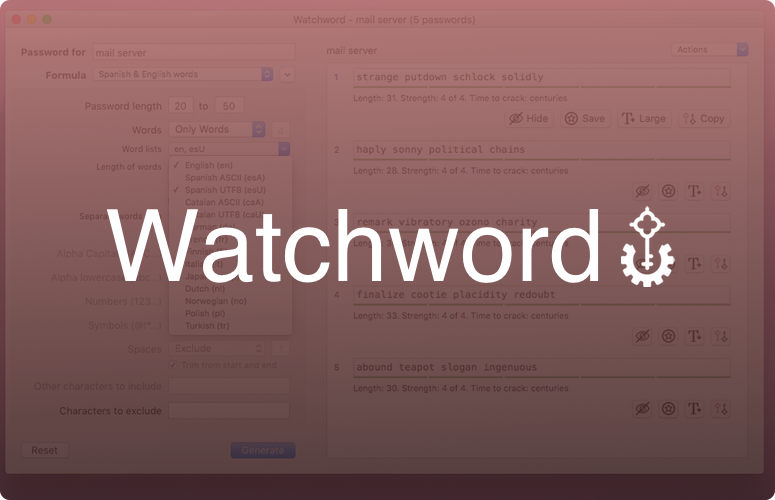 Watchword screenshot with a semi-opaque red gradient overlay with the word 'Watchword' in large white letters vertically and horizontally centered with the logo, a stylized key, trailing the word.